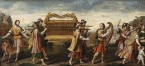 Die Überführung der Bundeslade durch den singenden und tanzenden David, Öl auf Holz, 37,6 x 82 cm